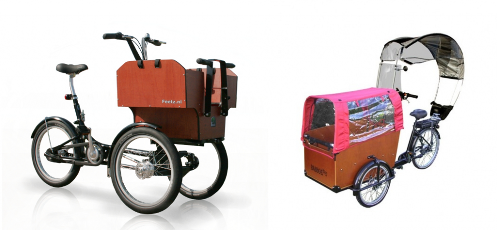 Photos of Feetz tilting Trike and Veltop weather covering on a cargo Trike