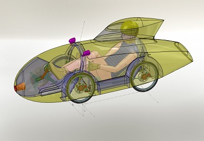 CAD image of Quattro Velomobile