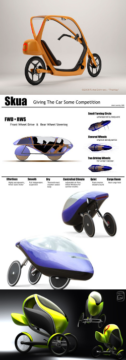 A collection of 4 Velomobile Concept Designs